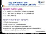 use of consent and disclosure without consent