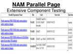 nam parallel page extensive component testing