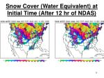 snow cover water equivalent at initial time after 12 hr of ndas