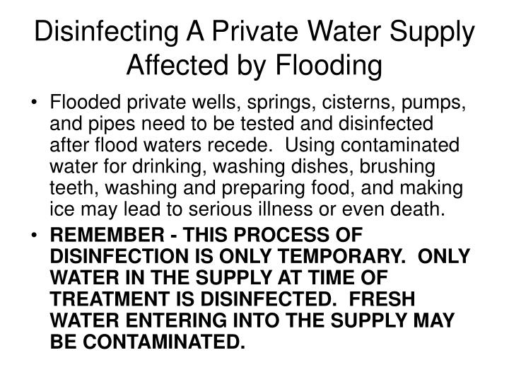 Disinfecting A Private Water Supply Affected by Flooding