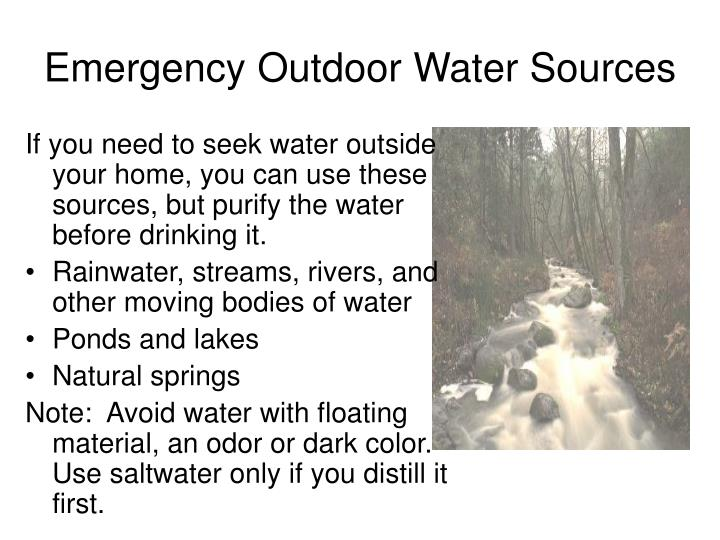 Emergency Outdoor Water Sources