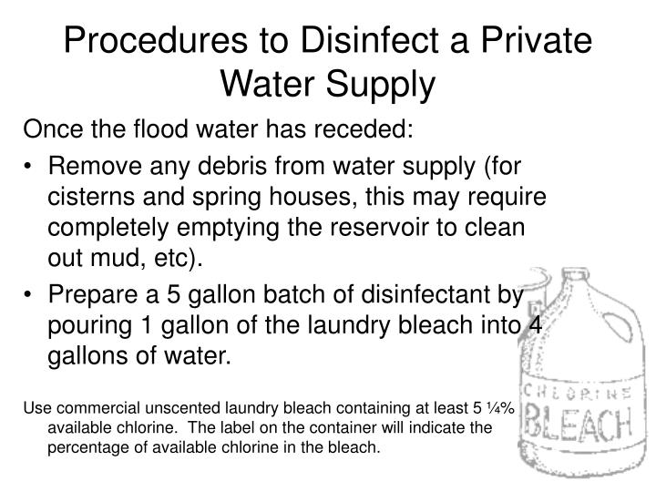 Procedures to Disinfect a Private Water Supply