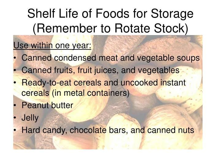 Shelf Life of Foods for Storage (Remember to Rotate Stock)