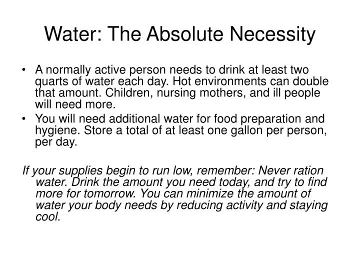 Water: The Absolute Necessity