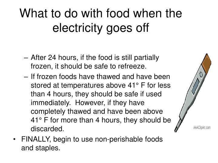 What to do with food when the electricity goes off