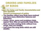 orders and families of birds