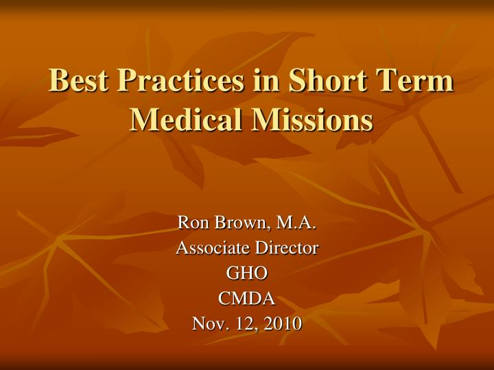 best practices in short term medical missions n.