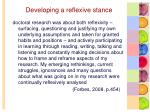 developing a reflexive stance