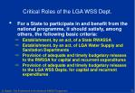 critical roles of the lga wss dept2