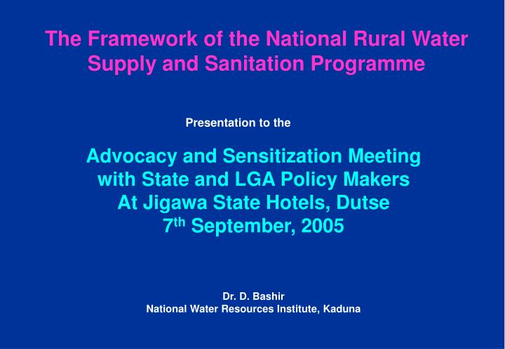 the framework of the national rural water supply and sanitation programme n.