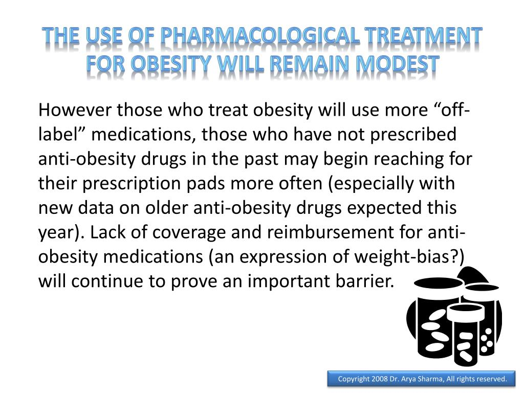 The use of pharmacological treatment for obesity will remain modest