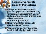personal corporate liability protections