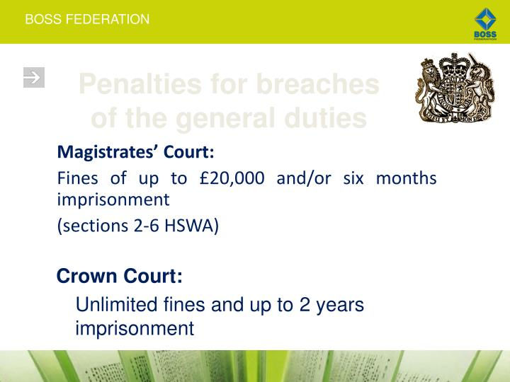 Penalties for breaches of the general duties