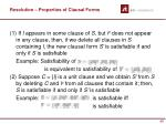 resolution properties of clausal forms