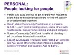 personal people looking for people