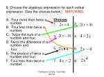 8 choose the algebraic expression for each verbal expression see the choices below matching