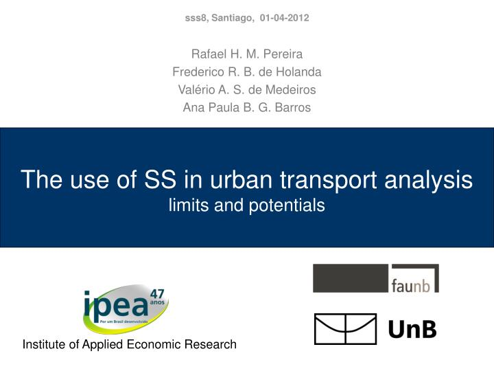 the use of ss in urban transport analysis limits and potentials n.