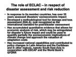 the role of eclac in respect of disaster assessment and risk reduction