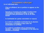 a candidate in michigan