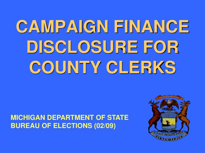campaign finance disclosure for county clerks n.