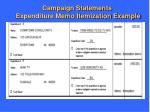 campaign statements expenditure memo itemization example