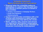 campaign statements memo itemization of an expenditure