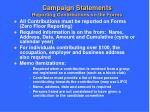 campaign statements reporting contributions on the forms
