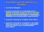 exclusions from the definition of a candidate
