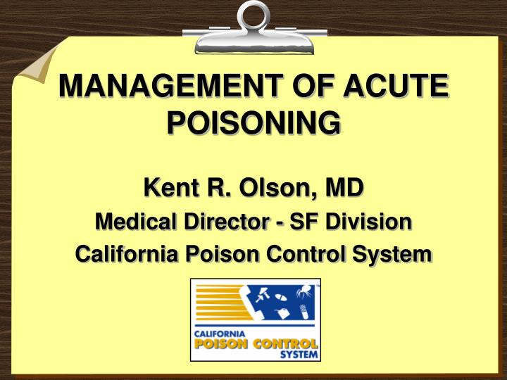 management of acute poisoning n.