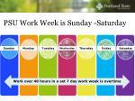psu work week is sunday saturday