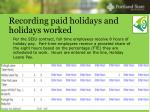 recording paid holidays and holidays worked