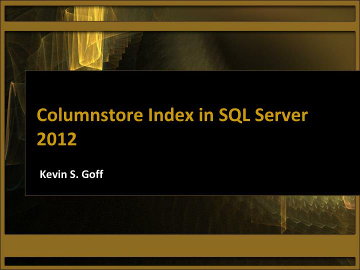 columnstore index in sql server 2012 n.