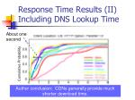 response time results ii including dns lookup time1