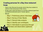 creating personas for a bay area restaurant finder