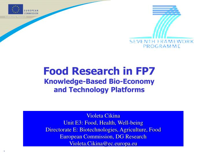 food research in fp7 knowledge based bio economy and technology platforms n.