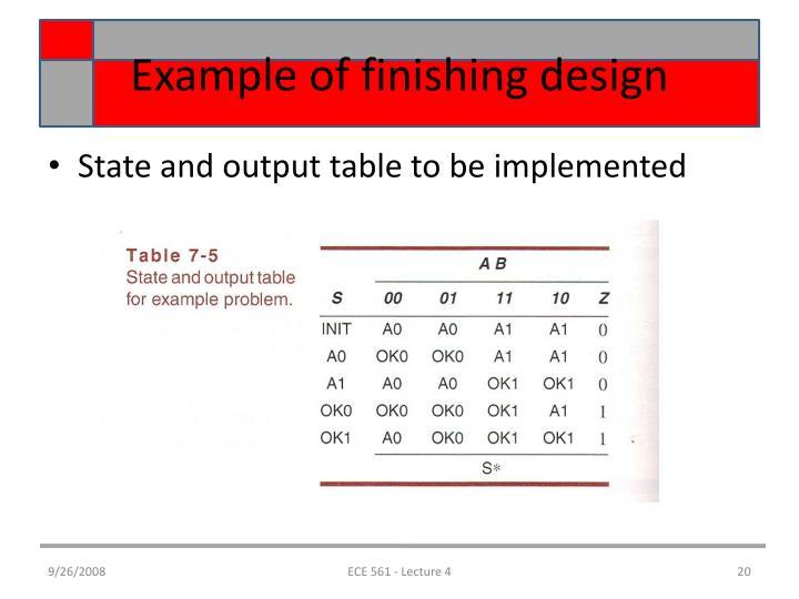 Example of finishing design