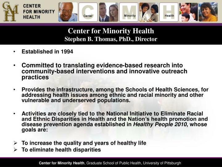 Center for minority health stephen b thomas phd director