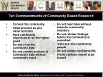 ten commandments of community based research