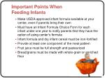 important points when feeding infants