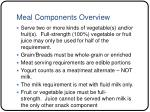 meal components overview