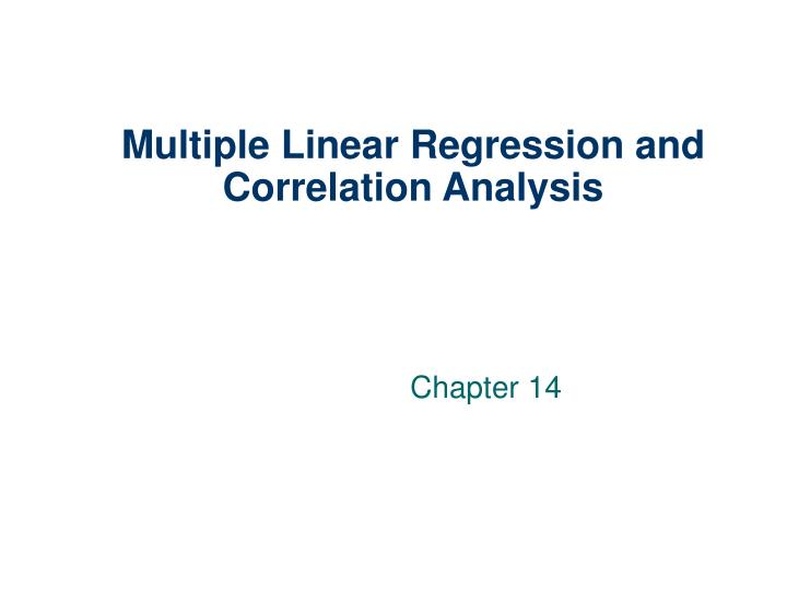 multiple linear regression and correlation analysis n.