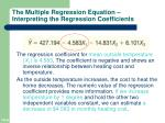 the multiple regression equation interpreting the regression coefficients