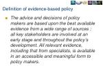 definition of evidence based policy
