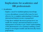 implications for academics and hr professionals