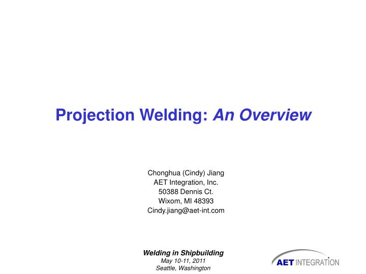projection welding an overview n.
