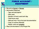 force account equipment