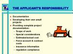 the applicant s responsibility