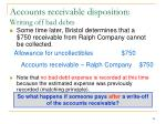 accounts receivable disposition writing off bad debts