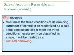 sale of accounts receivable with recourse contd