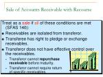 sale of accounts receivable with recourse